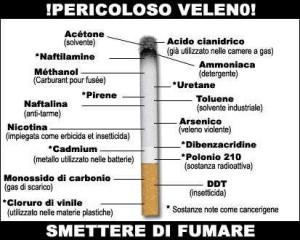 Componenti del fumo - Il fumo di una sigaretta contiene oltre 4.000 sostanze, la gran parte delle quali tossiche